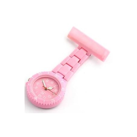 Montre infirmière PVC Rose Bonbon broche 51