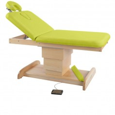 Table de massage électrique avec piètement central en bois naturel