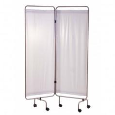 Paravent Inox 2 Panneaux avec Rideaux Tendus, Blanc