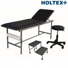 Kit Cabinet Holtex, composé de: 1 divan INOX, 1 tabouret, et 1 marchepied 2 marches, noir