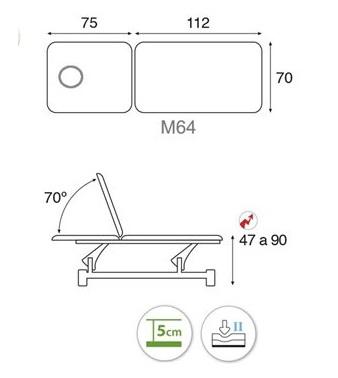 Table électrique bielle blanche 2 plans